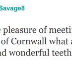 Robbie Savage is randomly complimented by the Duchess of Cornwall.  