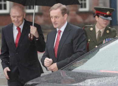 Taoiseach Enda Kenny arriving at Dublin Castle today for the Presidential inauguration