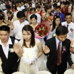 Over 300 brides and grooms attended a mass wedding ceremony at the Hokkien Association building in Klang, outside Kuala Lumpur in Malaysia on the 11.11.11 as the date was seen as significant. 