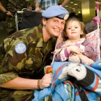 Michaelle Tarpey is welcomed home by her daughter Grace Loughnane (aged 3) at Dublin Airport this afternoon as the 104th Battalion return home from peacekeeping duty in Lebanon. Photo: Laura Hutton/Photocall Ireland