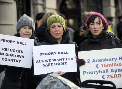 Frances Kennedy, Stephanie Meehan and Alison Doyle protest outside Leinster House earlier this month. 