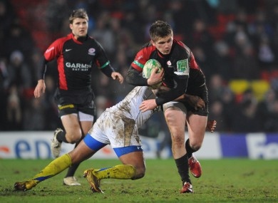 Owen Farrell tackled by Wesley Fofana