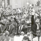 The Apollo 11 astronauts greet the thronging crowds gathered along New York City streets in mid-August 1969 during their ticker-tape parade celebrating the lunar mission. (NASA)