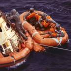 The US Navy rescued the three returned Apollo 11 astronauts after they landed in the Pacific Ocean on 24 July 1969. (NASA)