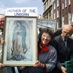Women holding a picture of the virgin Mary at an anti-abortion protest. Pic: Photocall Ireland