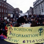 Abortion informormation demo in Dublin outside Government Buildings in February 1992. PIC PHOTOCALL IRELAND