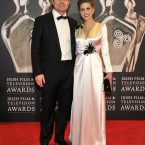 Actress/novellist Amy Huberman and her husband Irish rugby star Brian O'Driscoll in colour-coordinated outfits. (Photo by KOBPIX)