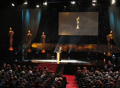 President Michael D Higgins addresses last night's IFTA awards at the National Convention Centre.