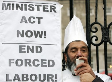 Chef Muhammad Younis protesting against forced labour outside the Dail in Dublin in December.