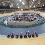 Riders warm-up during a preview day for the UCI Track Cycling World Cup at the Velodrome in the Olympic Park, London.