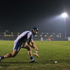 Jamie Nagle takes a sideline cut during Waterford's defeat to Cork last night. Pic: INPHO/Cathal Noonan