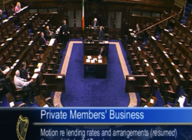 The government benches in the Dáil were completely empty for several minutes during a debate on mortgage interest rates.