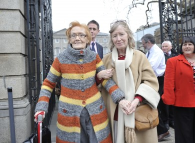 Marin O'Moore, symphysiotomy survivors with her daughter as they leaving the Dail