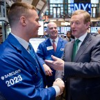 Taoiseach Enda Kenny meets staff after ringing the opening bell at the New York Stock Exchange on March 19, 2012 in New York City. (Photo by Ben Hider/NYSE Euronext)