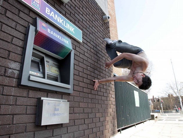 28/3/2012 Freerunning in Dublin. Pictured enjoying