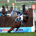 Wishfull Thinking, ridden by Richard Johnson, falls during Queen Mother Champion Chase at the Cheltenham Festival.