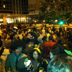 Aaron sent us this photo of the celebration at a square in Tel Aviv in Israel (with plenty of obligatory leprechaun hats)