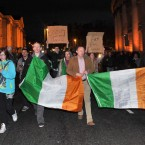 Members of the Occupy Dame Street camp march through College Green this evening. Photo: Laura Hutton/Photocall Ireland