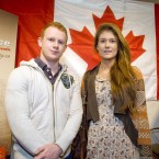 Brother and sister Jack and Katie Dunne, aged 22 and 21, visit a Canadian stand at the Working Abroad Expo at the RDS this morning.