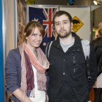 Karen Martin (27) and Darren Zeltner (23) visit an Australian stand at the Working Abroad Expo at the RDS this morning.
