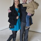 Habitat Good Home News. Parents Keith Greene and Jennifer Clail with their son Nathan in their new home in Inchicore, Dublin, which has been renovated by Habitat for Humanity Ireland in partnership with Dublin City Council. The family who are currently council tenants in Pearse Street, hope to move into their new home during the summer. They are one of two families who where selected to occupy two fine Victorian houses on Emmet Road from their level of need, their ability to repay a small mortgage and their willingness to work onsite alongside volunteers and trade professionals during the renovation. Their new homes will have three bedrooms and the basement of each home will comprise a separate one bed apartment. President Michael D Higgins joined the lucky first time homeowners on site today. Photo Eamonn Farrell/Photocall Ireland