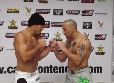Dean Lister and Rodney Moore at  the weigh-in yesterday.