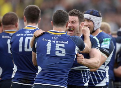 Fergus McFadden celebrates with Rob Kearney.