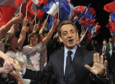 French incumbent President and Union for a Popular Movement (UMP) candidate for the French 2012 presidential elections Nicolas Sarkozy