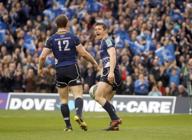 Brian O'Driscoll celebrates his first half try with Gordon D'Arcy