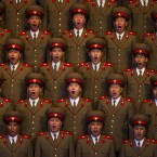 A North Korean choir sings during a concert to commemorate 100 years since the birth of Kim Il Sung. (AP Photo/David Guttenfelder)
