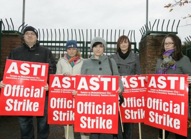 Secondary teachers participating in a public sector strike in 2009. Unions have threatened to hold industrial action if the government looks to cut their allowances.