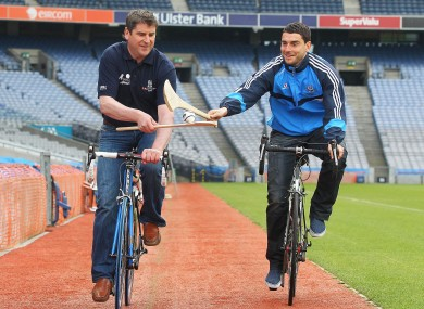 Anyone for Hurl-o? Former Offaly hurler and Dublin footballer Bernard Brogan at the Race the Rás launch