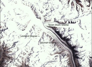 A satellite image of the Siachen Glacier (File)