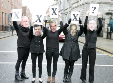 The Action on X Alliance protesting outside the Dáil earlier this year. The group wants to see legislation to allow for abortion where a woman's life is in danger.