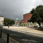 Dark clouds over a public square beside Jervis shopping centre in Dublin today. Photo: Sam Boal/Photocall Ireland