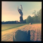 Having fun with the bales in the Phoenix Park, Dublin 