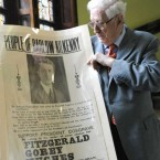 The late former Taoiseach Dr Garret FitzGerald views a 1932 election poster of his father the late Desmond FitzGerald published by Cumann na nGaedheal from the political collection of the National Library of Ireland.(Sasko Lazarov/Photocall Ireland)