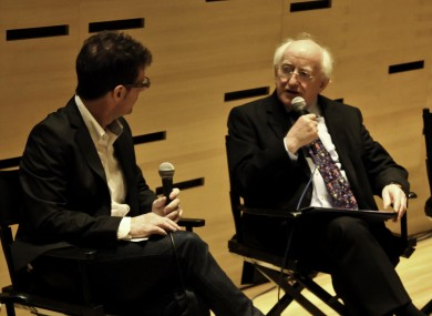 Niall McKay, director of Irish Film New York, interviewing President Higgins last night at the Lincoln Centre.