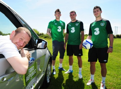 PJ Gallagher with members of the Irish squad in Dublin yesterday.