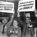 Supporters of Charlie Haughey during the Fianna Fail Ard Fheis 1985.