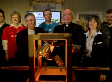 Archbishop of Dublin, Diarmuid Martin (centre left) pictured with Cardinal Sean Brady, Archbishop of Armagh (centre) at the launch of the International Eucharistic Congress 2012 alongside volunteers