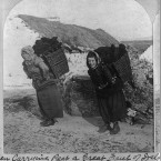Women carrying turf in the village of Dooagh on Achill Island, 1903.  (Library of Congress, Prints & Photographs Division)