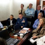 Secretary of State Hillary Rodham Clinton, President Obama and Vice President Biden, as well as members of the national security team, watch events unfold on the mission against Osama bin Laden in the Situation Room of the White House.
