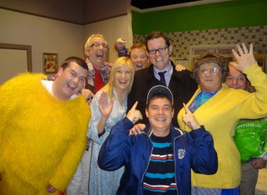 Simon Carty with the cast of Mrs Brown's Boys. You can probably guess which one he is...
