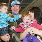 Michael O'Mahony from Killarney is welcomed by his wife Fiona and children Micheal Og and Saidbh Photo: Laura Hutton/Photocall Ireland