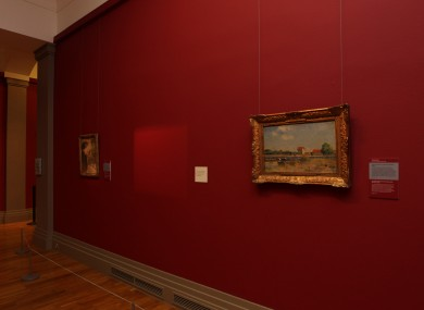 The empty space where the painting hung until the attack yesterday
