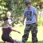 Depp and Paradis take their two children for a picnic in a London Park in July 2002. (ANTONY JONES/UK Press/Press Association Image)