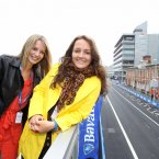 Laurie Van Keeland from Holland and Isabelle Dumortier from Belgium in Dublin getting ready to watch racing. 