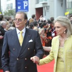 Actor Roger Moore and his wife Christina Tholstrup arriving at the Bord Gais Theatre in Dublin. Photo: Sasko Lazarov /Photocall Ireland