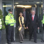 Burmese activist Aung San Suu Kyi Dublin, with Tanaiste and Minister for Foreign Affairs Eamon Gilmore, after arriving at Dublin Airport in Dublin. Photo: Sasko Lazarov/Photocall Ireland